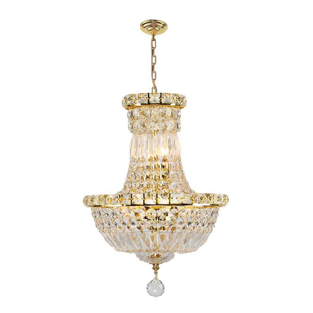 Worldwide Lighting Empire Collection 6-Light Polished Gold Crystal Chandelier