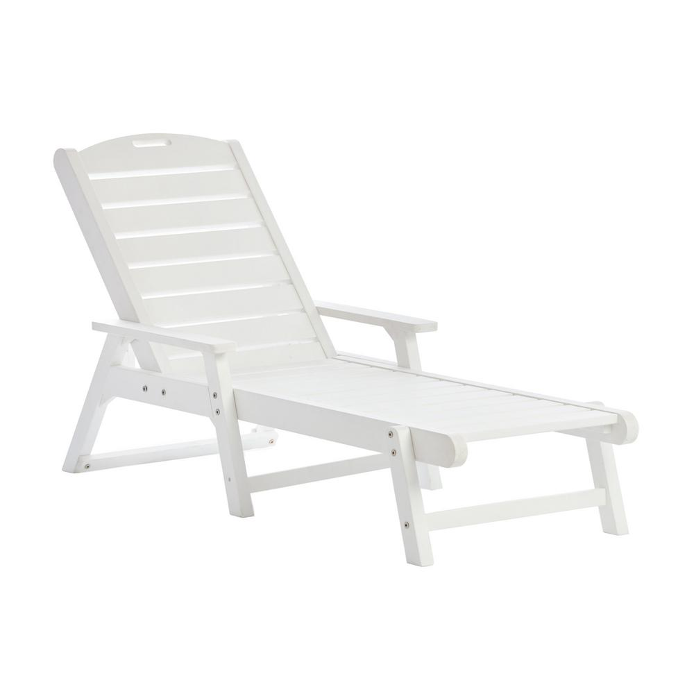 Shine Company White Plastic Outdoor Chaise Lounge 7668wt