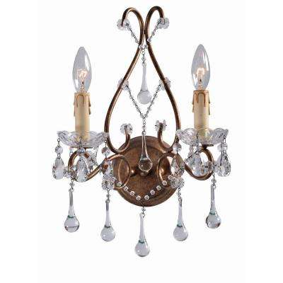 Grace Collection 2-Light Antique Gold Indoor Wall Sconce