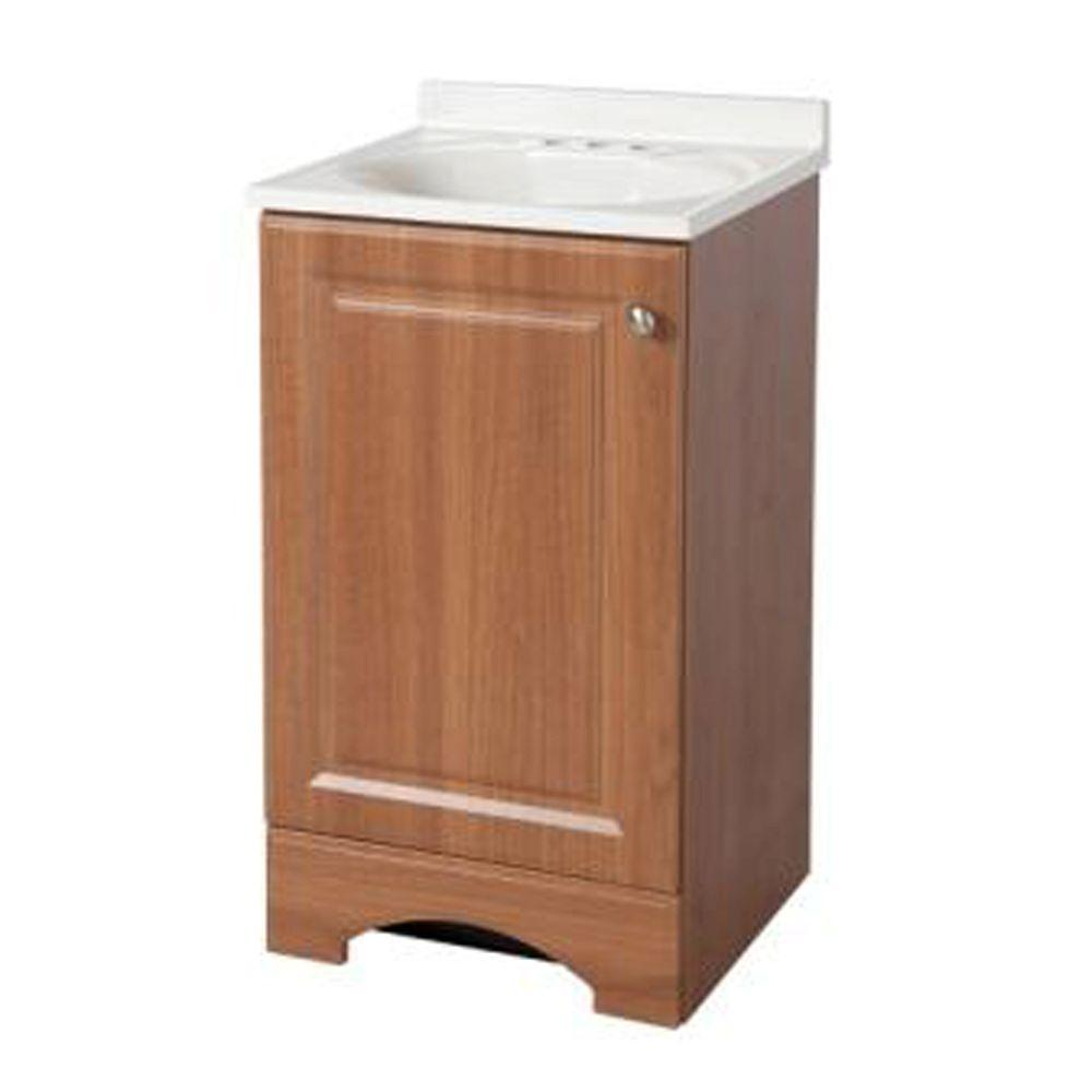 Glacier Bay 18 50 In W Bath Vanity In Golden Pecan With Cultured Marble Vanity Top In White With White Basin Gb18p2 Wa The Home Depot