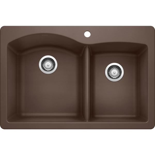 Blanco Diamond Dual Mount Granite Composite 33 In 1 Hole 50 50 Double Bowl Kitchen Sink In Cafe Brown 440218 The Home Depot