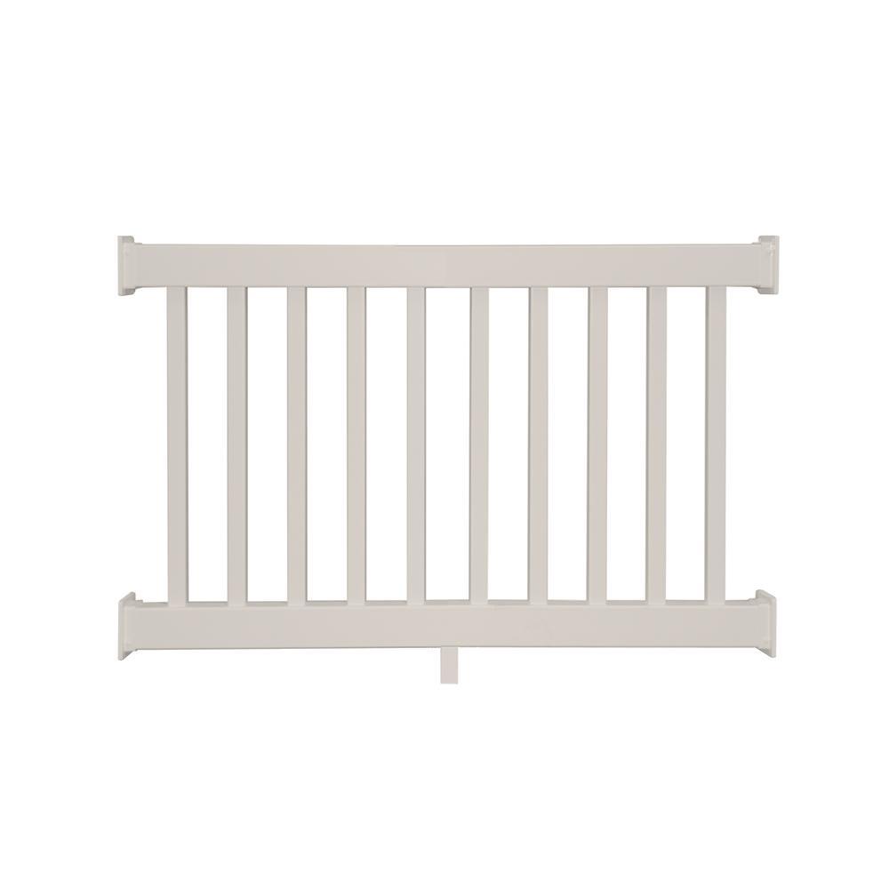 Weatherables naples 3 5 ft h x 4 ft w tan vinyl railing kit ctr r42 e4 the home depot - Vinyl railing reviews ...