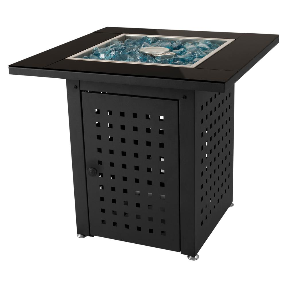 Pleasant Hearth Lockwood 28 in. x 26 in. Square Steel Propane Gas Fire Pit Table in Black with Glass Fire Rocks