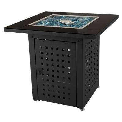 Lockwood 28 in. x 26 in. Square Steel Propane Gas Fire Pit Table in Black with Glass Fire Rocks