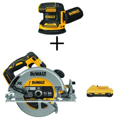 20-Volt MAX XR Cordless Brushless 5 in. Random Orbital Sander with 7-1/4 in. Circular Saw & (1) 20-Volt Battery 4.0Ah