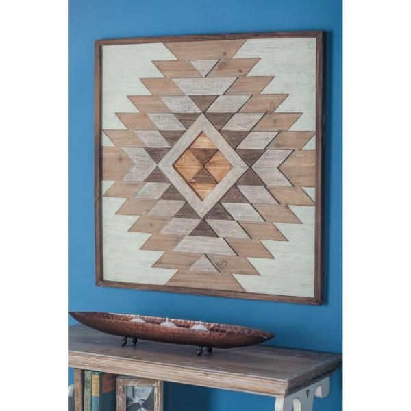 Litton Lane 32 in. x 32 in. Rustic Geometric Patterns Wooden Wall Decor in Stained Brown