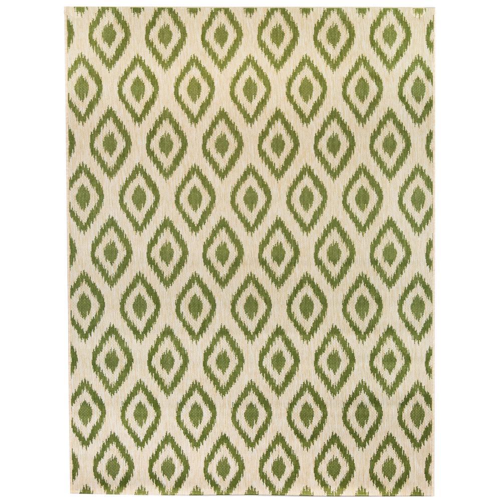 Ikat Green 7 ft. 10 in. x 9 ft. 10 in. Indoor/Outdoor Area Rug