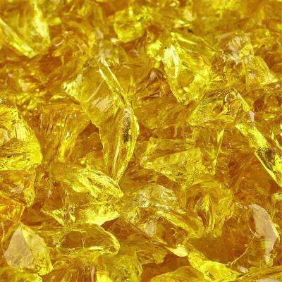 10 lbs. of Sunflower Yellow 3/8 in. to 1/2 in. Crushed Fire Glass