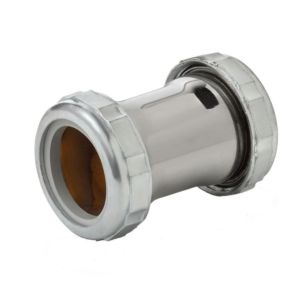 1-1/4 in. Slip Joint Compression Coupling, Chrome