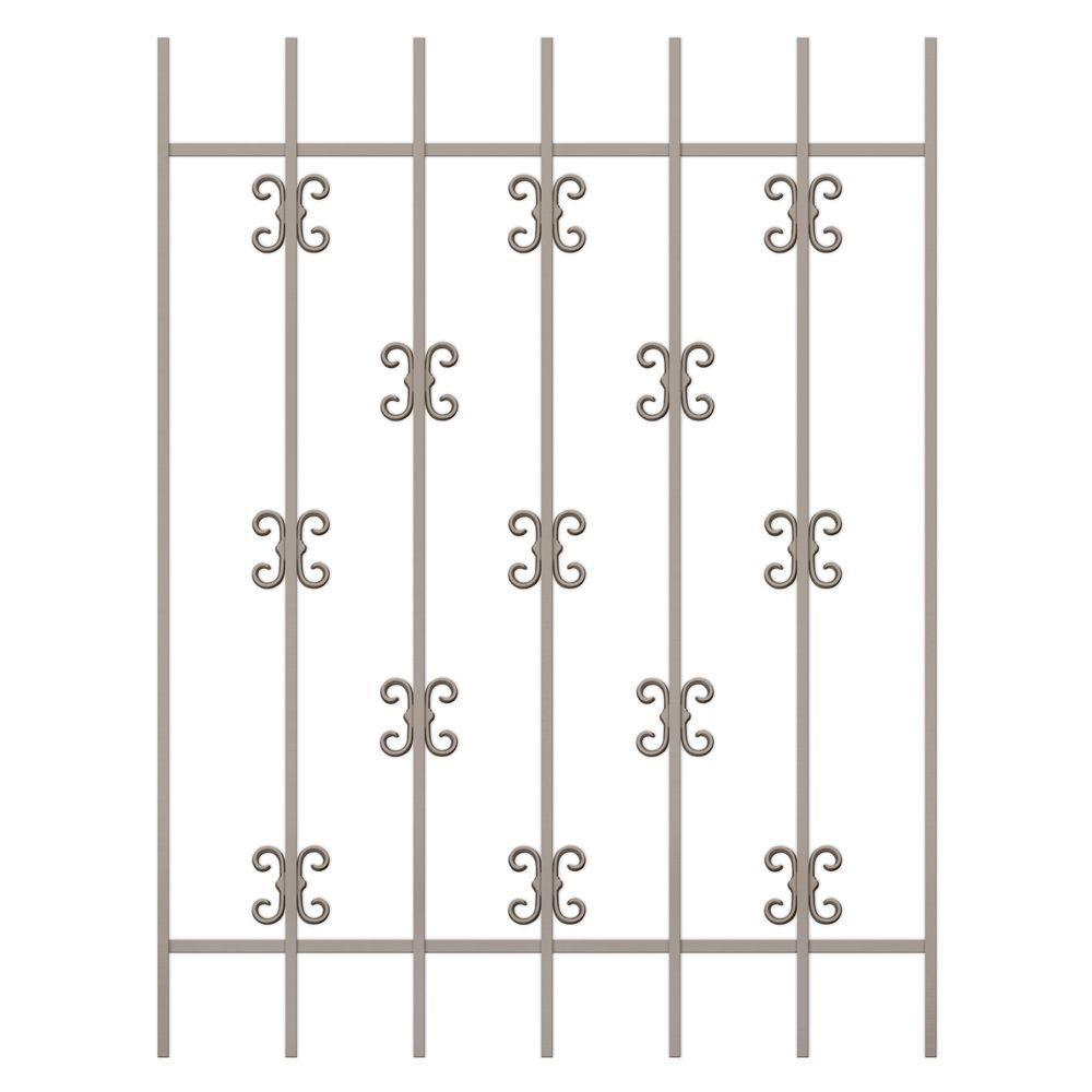 Unique Home Designs Moorish Lace 36 in. x 48 in. Tan 7-Bar Window Guard-DISCONTINUED
