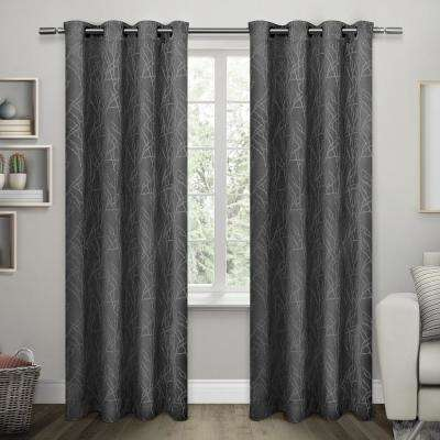 Twig 54 in. W x 96 in. L Woven Blackout Grommet Top Curtain Panel in Charcoal (2 Panels)