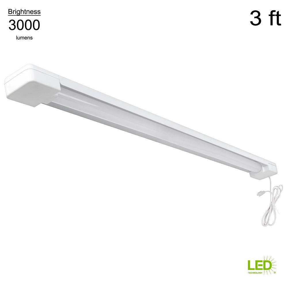Commercial Electric 1 Light 4000K 3 Ft. White Integrated