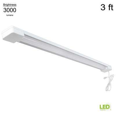 3 ft. 1-Light 30-Watt White Integrated Utility LED Shop Light with 5 ft. Power Cord