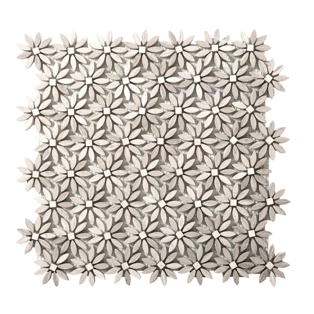 Metro Cream Daisy 12 in. x 13 in. x 10 mm Limestone Mosaic Tile