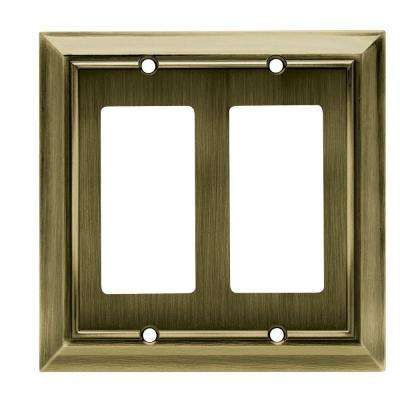 Architectural Decorative Double Rocker Switch Plate, Antique Brass