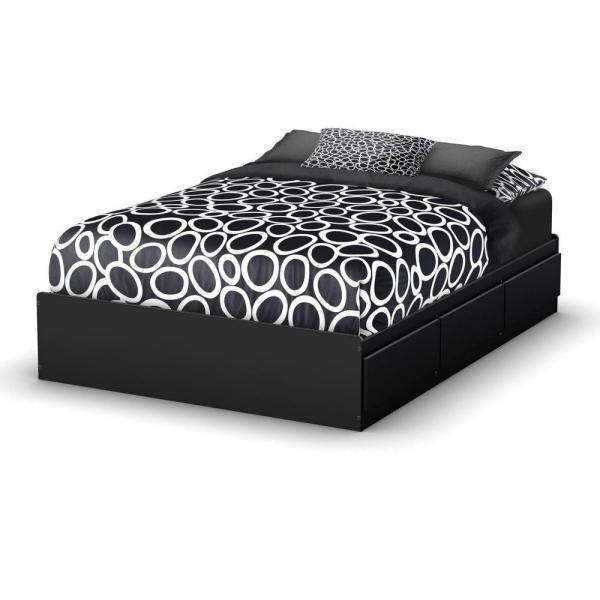 South Shore Step One 3-Drawer Full-Size Storage Bed in Pure Black