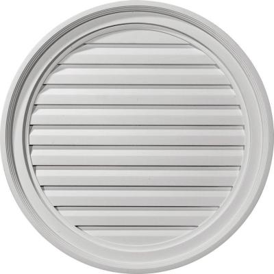 24 in. x 24 in. Round Primed Polyurethane Paintable Gable Louver Vent Non-Functional