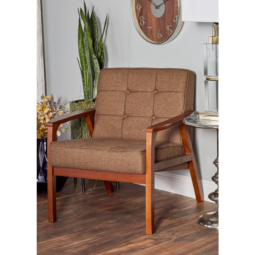 Litton Lane Brown Rubber Wood and Fabric Cushioned Arm Chair  sc 1 st  The Home Depot & Litton Lane Brown Rubber Wood and Fabric Cushioned Arm Chair-62785 ...