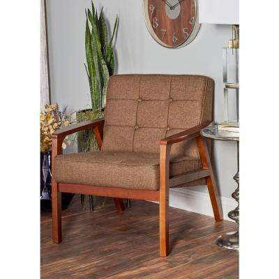 Brown Rubber Wood and Fabric Cushioned Arm Chair