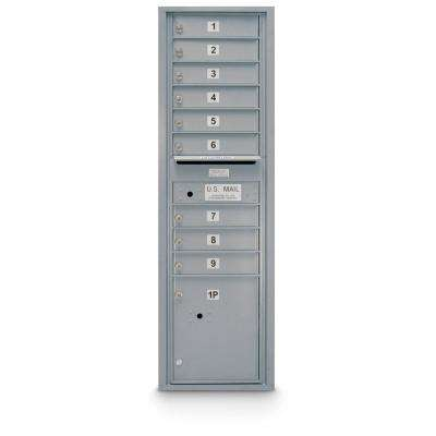 9-Door Standard 4C Mailbox with 1-Parcel Door in Silver