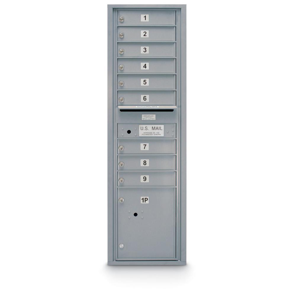 9-Door Standard 4C Mailbox with 1-Parcel Door in Silver