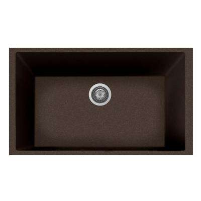 One Undermount Granite Composite 19.5 in. Single Bowl Kitchen Sink in Brown