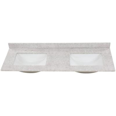61 in. W x 22 in. D Stone Effect Double Sink Vanity Top in River Stone with White Sinks