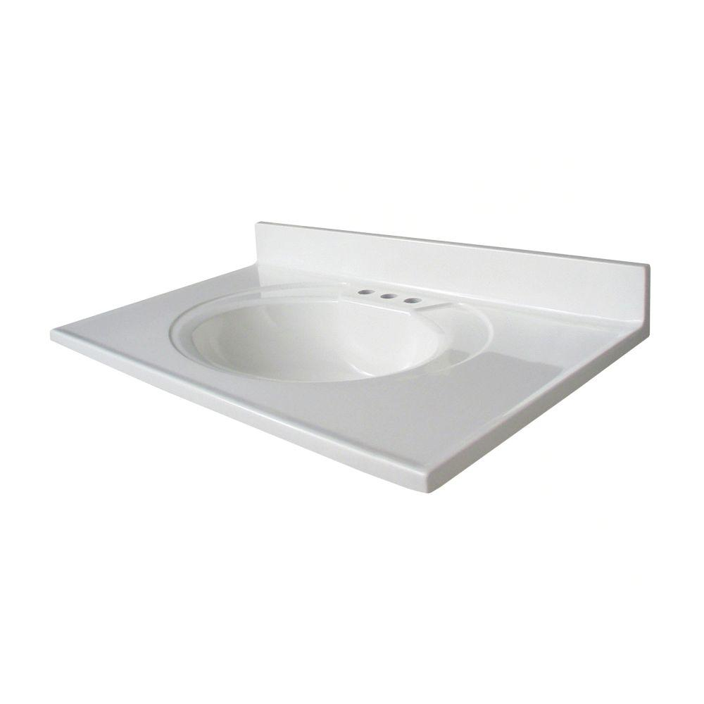 Cultured Marble Vanity Top With Sink In White