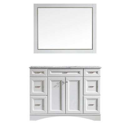 Naples 48 in. W x 22 in. D x 35 in. H Vanity in White with Marble Vanity Top in White with Basin and Mirror