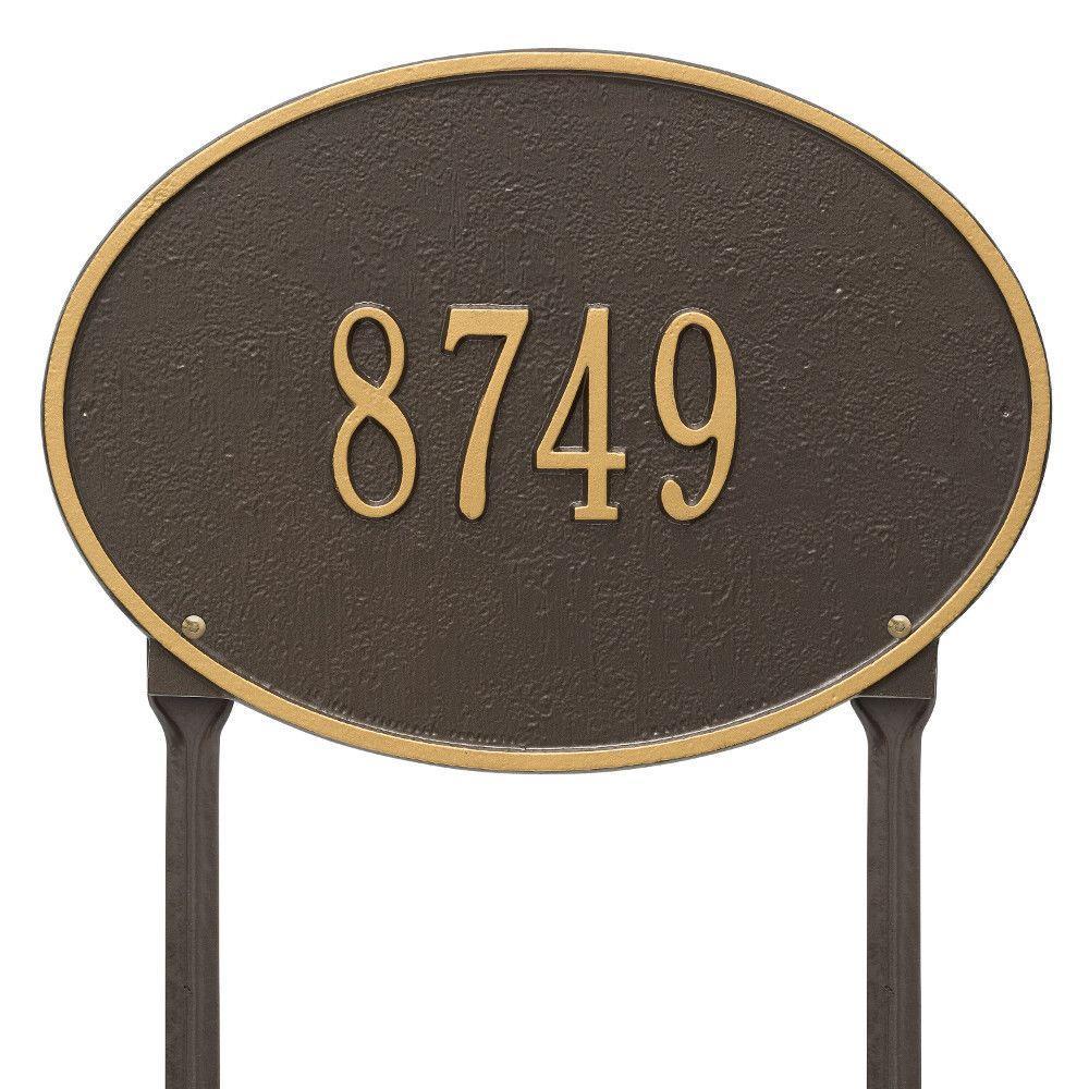 Hawthorne Standard Oval Antique Copper Lawn 1-Line Address Plaque