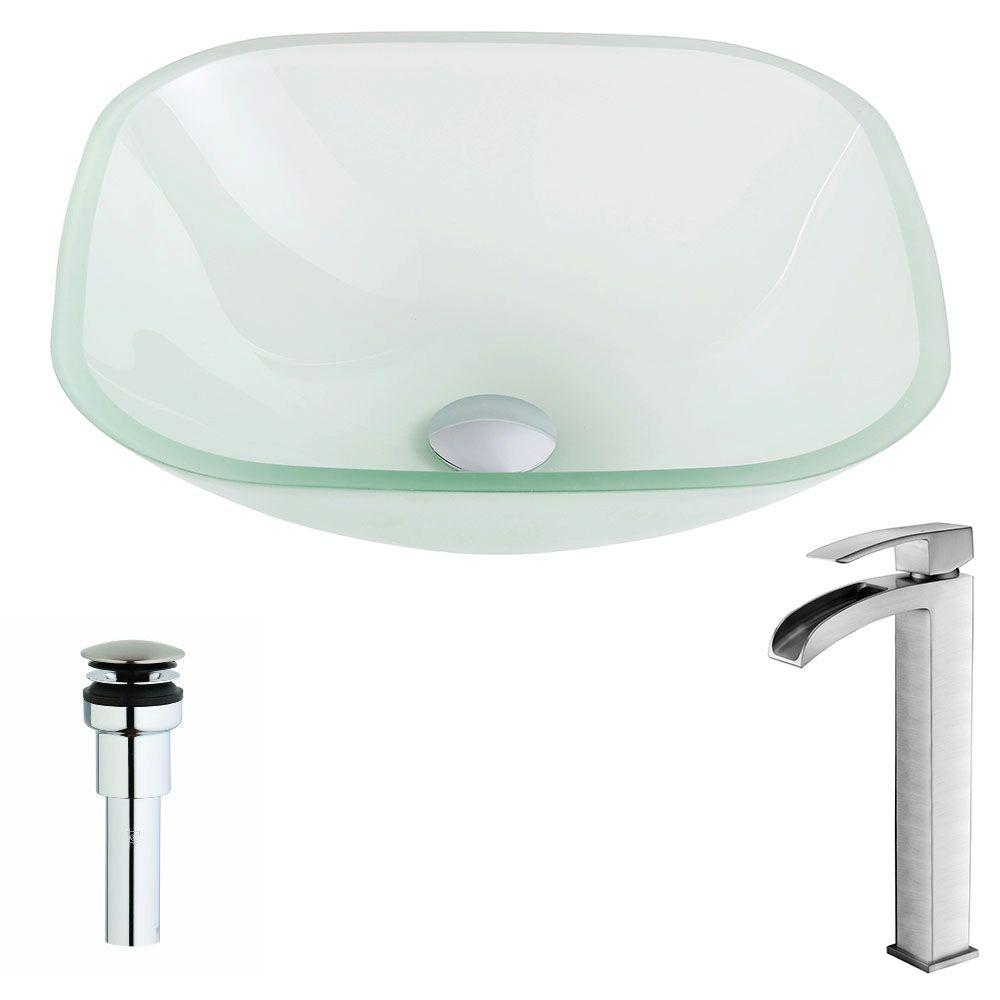 Anzzi Vista Series Deco Glass Vessel Sink In Rous Frosted With Key Faucet Brushed