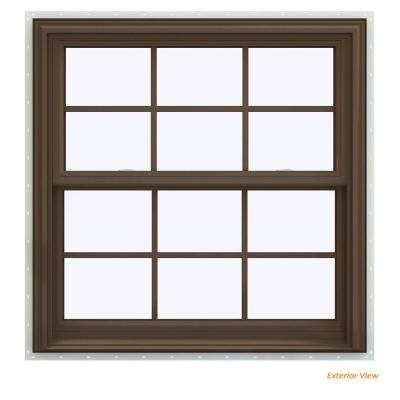 35.5 in. x 40.5 in. V-2500 Series Brown Painted Vinyl Double Hung Window with Colonial Grids/Grilles