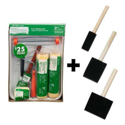 1 in. + 2 in. + 3 in. Chiseled Foam Paint Brushes + 8-Piece High-Density Polyester Knit Paint Tray Kit