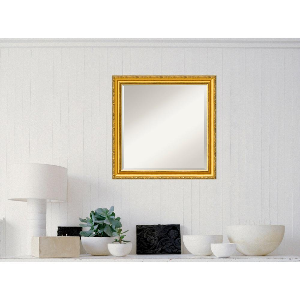 Amanti Art Colonial Embossed Gold Wood 24 in. W x 24 in. H Traditional Framed Mirror