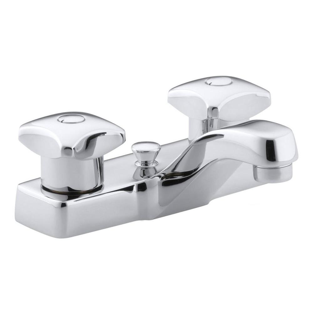 Triton 4 in. Centerset 2-Handle Low-Arc Commercial Bathroom Faucet in Polished