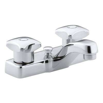 Triton 4 in. Centerset 2-Handle Low-Arc Commercial Bathroom Faucet in Polished Chrome