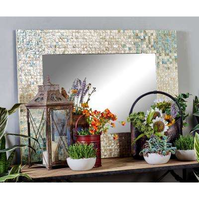 48 in. x 36 in. Rectangular White Dresser Wall Mirror with Square White Mussel Shell Tiles Inlay