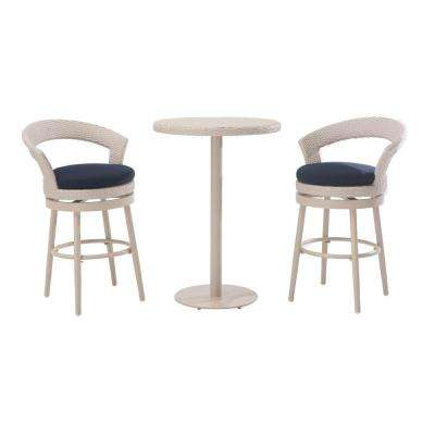 Fresh 3-Piece Counter Height Patio Bistro Set with Navy Cushions