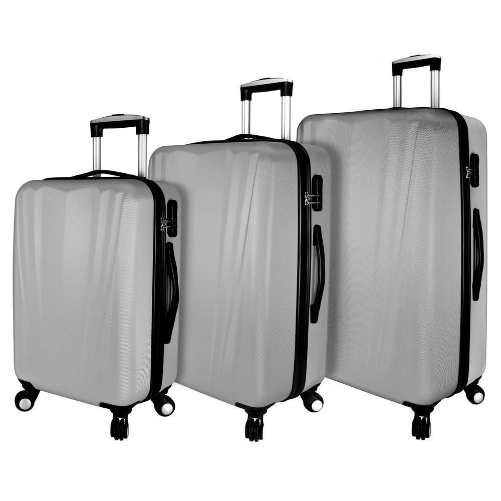 Hardside 3-Piece Spinner Luggage Set, Silver