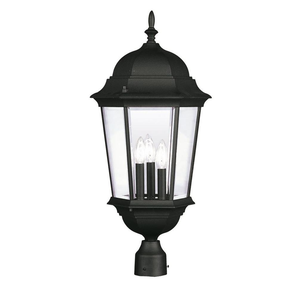 Livex Lighting Providence 3-Light Outdoor Black Incandescent Post Head Light