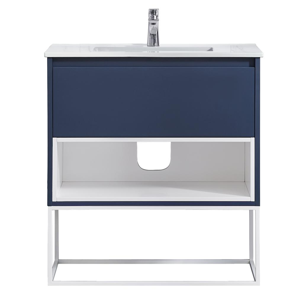 OVE Decors Mason 32 in. W x 18.13 in D. in Navy Blue with Porcelain White One Piece Top with White Basin