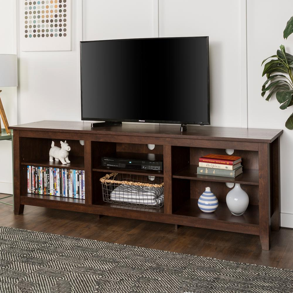 Walker Edison Furniture Company 70 In. Wood Media TV Stand Storage Console    Traditional Brown