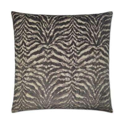 Tigra Grey Feather Down 24 in. x 24 in. Standard Decorative Throw Pillow