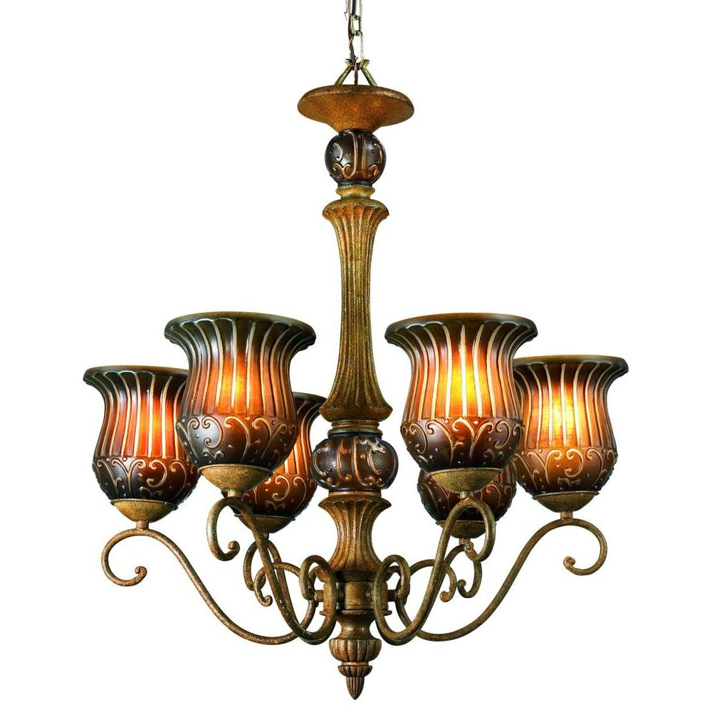 Eurofase Fenton Collection 6-Light 101 in. Hanging Aged Taupe Chandelier