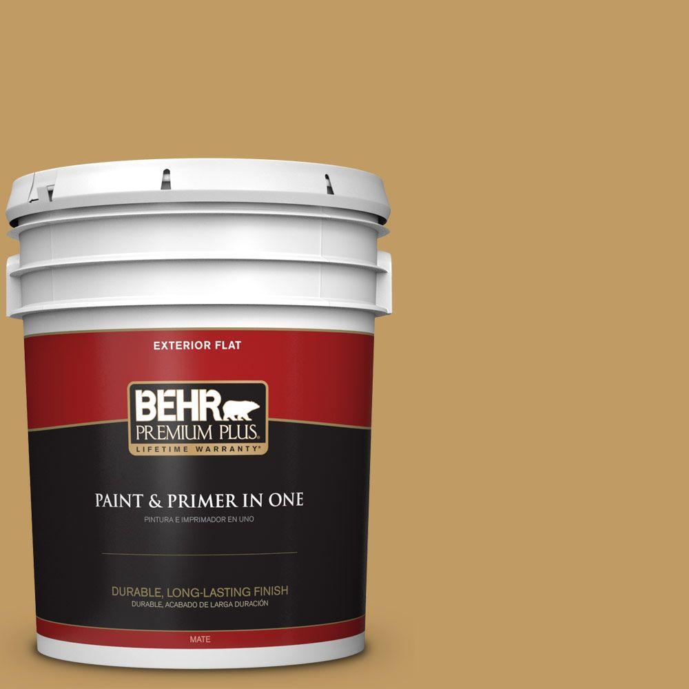 BEHR Premium Plus 5-gal. #340F-6 Mojave Gold Flat Exterior Paint