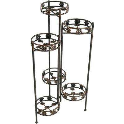 45 in. Indoor-Outdoor 6-Tiered Folding Metal Plant Flower Stand