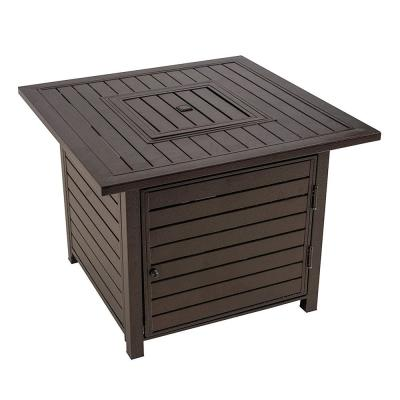32 in. x 28 in. H Square Steel Gas Fire Pit in Brown