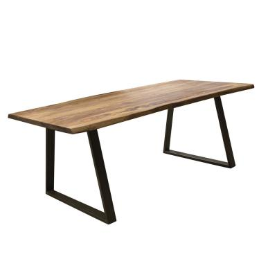 63 in. x 35 in. Black Dining Table with Rosewood Top