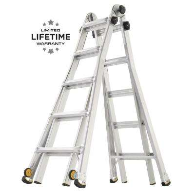 22 ft. Reach MPX Aluminum Multi-Position Ladder with Wheels with 375 lbs. Load Capacity Type IAA Duty Rating