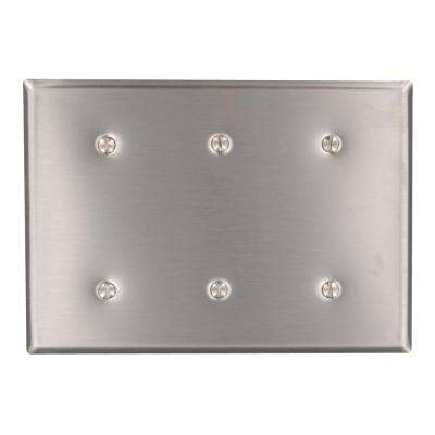 3-Gang No Device Blank Wallplate, Standard Size, 302 Stainless Steel, Strap Mount, Stainless Steel